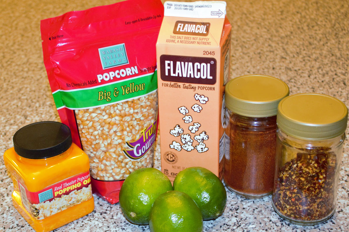 Ingredients for Chili Lime Snacko de Mayo Popcorn