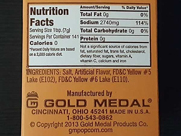 Flavacol by Gold Medal Nutrition Facts